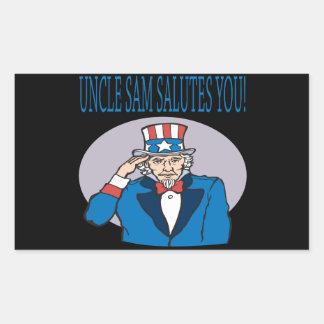 Uncle Sam Salutes You Rectangular Sticker