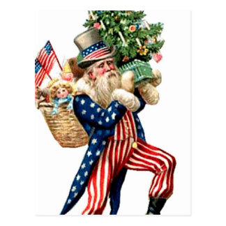 Uncle Sam Santa Claus Christmas Post Card