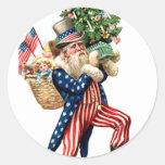 Uncle Sam Santa Claus Christmas Sticker