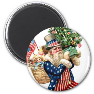 Uncle Sam Santa Claus Flags Christmas Tree Vintage Refrigerator Magnet