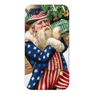 Uncle Sam Santa Claus Vintage Christmas Postcard iPhone 4/4S Case