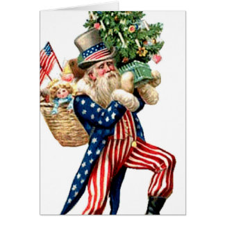 Uncle Sam Santa Claus Vintage Christnas Add Text Card