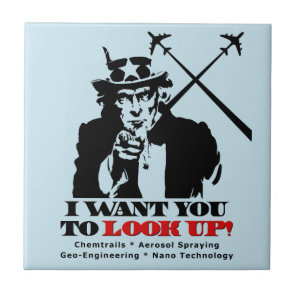 Uncle Sam says I Want You To Look Up Ceramic Tile