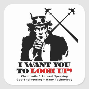 Uncle Sam says I Want You To Look Up Square Sticker
