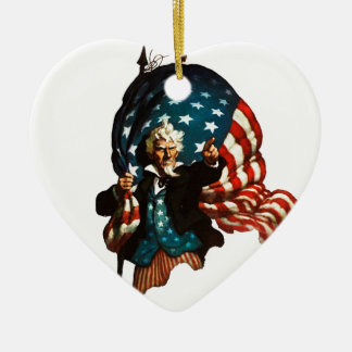 Uncle Sam Shows the Way Ceramic Ornament