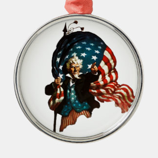 Uncle Sam Shows the Way Metal Ornament
