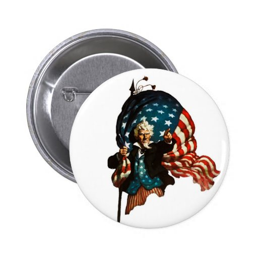 Uncle Sam Shows the Way Pinback Buttons