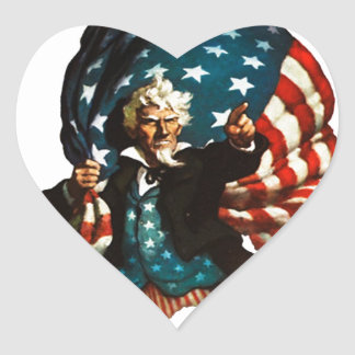 Uncle Sam Shows the Way Heart Sticker