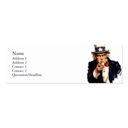 Uncle Sam Skinny Profile Cards Business Card Templates