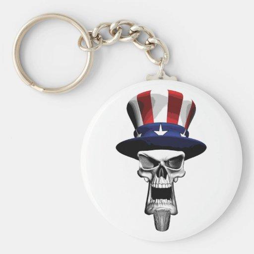 Uncle Sam Skull Basic Round Button Keychain