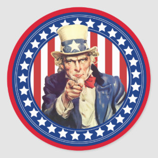 Uncle Sam Stars and Stripes Classic Round Sticker