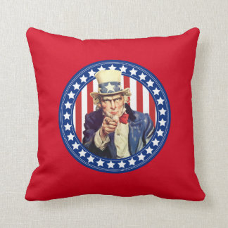 Uncle Sam Stars and Stripes Reversible Throw Pillow