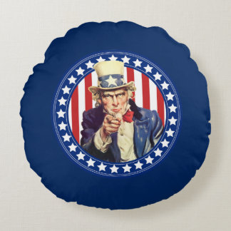 Uncle Sam Stars and Stripes Round Pillow