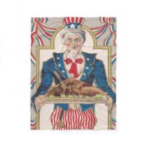Uncle Sam Thanksgiving Turkey Fleece Blanket