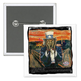 Uncle Sam The Scream by Yes Politics Suck 2 Inch Square Button