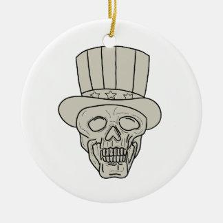 Uncle Sam Top Hat Skull Drawing Ceramic Ornament