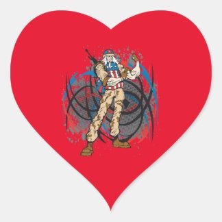 Uncle Sam Tribal Camouflage Hunter Skull Heart Sticker