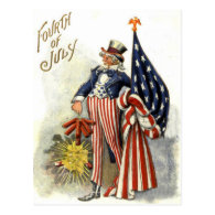 Uncle Sam US Flag Fireworks Firecracker Post Card