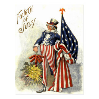 Uncle Sam US Flag Fireworks Firecracker Postcard