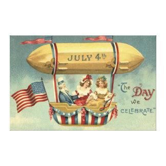 Uncle Sam US Flag Zeppelin Air Balloon Canvas Print