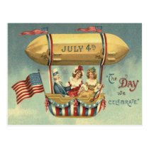 Uncle Sam US Flag Zeppelin Air Balloon Postcard