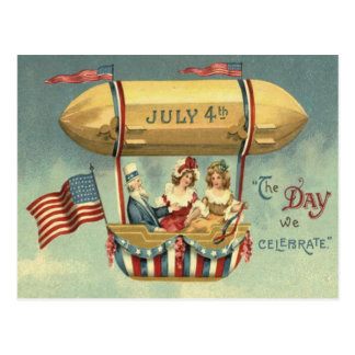 Uncle Sam US Flag Zeppelin Air Balloon Postcard