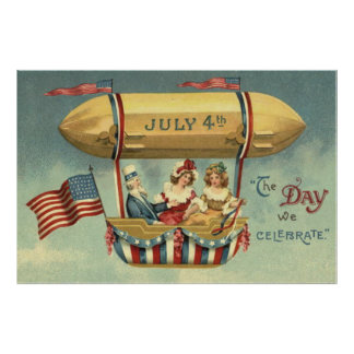 Uncle Sam US Flag Zeppelin Air Balloon Poster