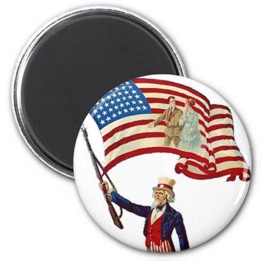 Uncle Sam Vintage July 4th Patriotic 2 Inch Round Magnet