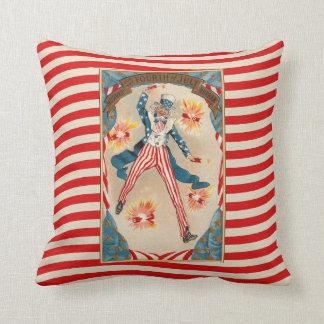 Uncle Sam Vintage Patriotic American July 4 Throw Pillow