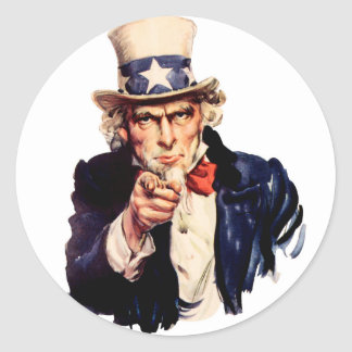 Uncle Sam Wants You! Classic Round Sticker