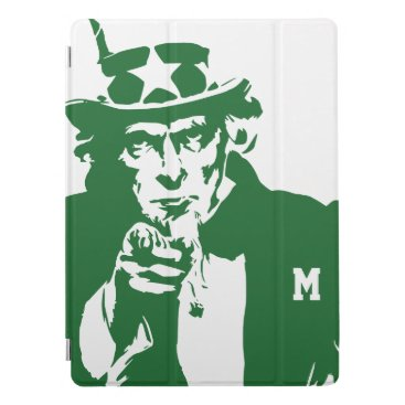 USA Themed Uncle Sam Wants You. Green Silhouette. Patriot. iPad Pro Cover