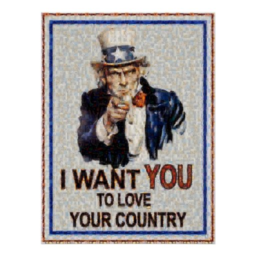 Uncle Sam Wants You Mosiac (Made from 3000 photos) Poster