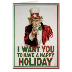 Uncle Sam wants YOU to have a Happy Holiday Card at Zazzle