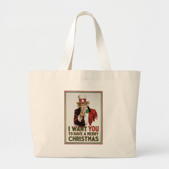Uncle Sam wants YOU to have a Merry Christmas Large Tote Bag