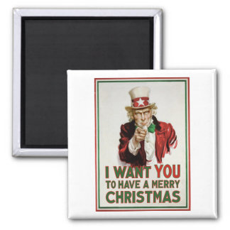 Uncle Sam wants YOU to have a Merry Christmas Magnet