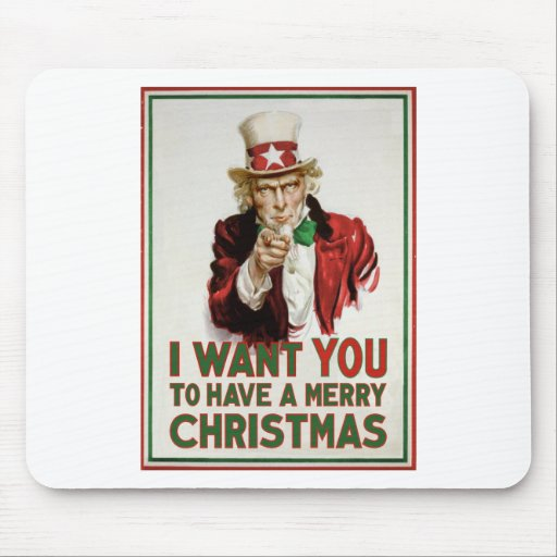 Uncle Sam wants YOU to have a Merry Christmas Mouse Pad