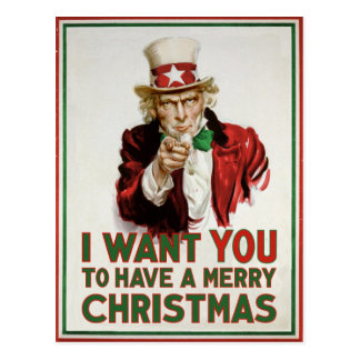 Uncle Sam wants YOU to have a Merry Christmas Postcard