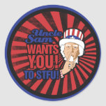 Uncle Sam wants you to STFU Classic Round Sticker