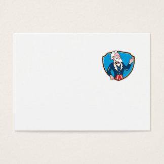 Uncle Sam Waving Hand Crest Cartoon Business Card
