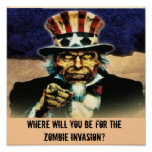 uncle sam, Where will You be For the Zombie Inv... Posters