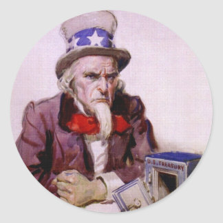 Uncle Sam With An  Empty Treasury Round Stickers