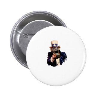 Uncle Sam - With Gas Mask!  Zombie Apocalypse! Buttons
