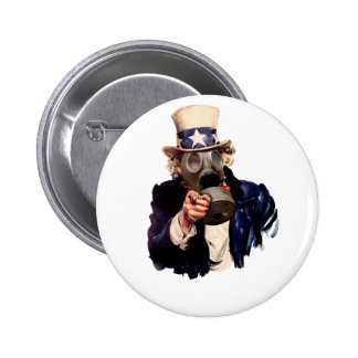 Uncle Sam - With Gas Mask!  Zombie Apocalypse! Pinback Button