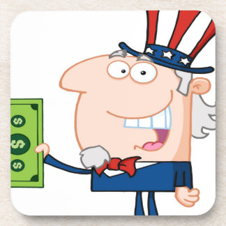 Uncle Sam With Holding A Dollar Bill Coaster