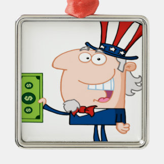 Uncle Sam With Holding A Dollar Bill Christmas Ornaments