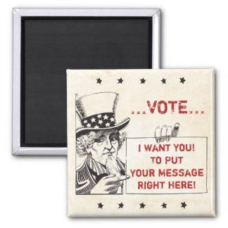Uncle Sam with Sign - Customize It Refrigerator Magnets