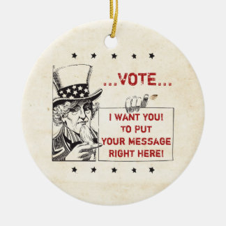 Uncle Sam with Sign - Customize It Christmas Tree Ornament
