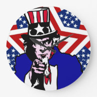 Uncle Sam with Stars & Stripes Background Clocks