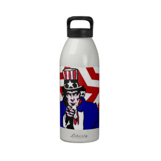 Uncle Sam with Stars Stripes Background Water Bottle