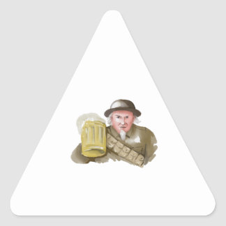 Uncle Sam WW1 Soldier Toasting Beer Watercolor Triangle Sticker